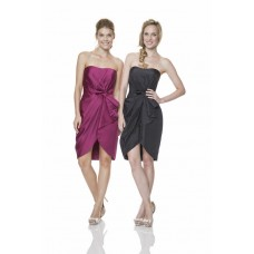 Sexy Strapless Short Black Taffeta Ruched High Low Party Bridesmaid Dress With Bow