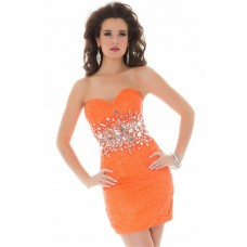 Sexy Strapless Short/ Mini Orange Sequin Beaded Homecoming Cocktail Prom Dress