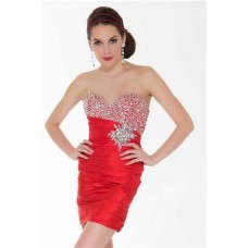Sexy Strapless Short/ Mini Red Beaded Sequin Cocktail Party Prom Dress