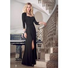 Sexy Sweetheart High Slit Long Black Chiffon Evening Dress With Bolero Jacket