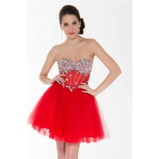 Sexy Sweetheart Short/ Mini Red Tulle Beaded Sheer Bustier Cocktail Prom Dress