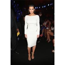 Sexy Tight Backless Short White Stretch Jersey Kim Kardashian Dress With Sleeve