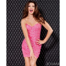 Sexy Tight Strapless Short/Mini Pink Beaded Party Cocktail Dress