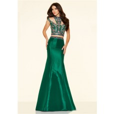 Sexy Two Piece Cut Out Emerald Green Taffeta Colorful Beaded Prom Dress