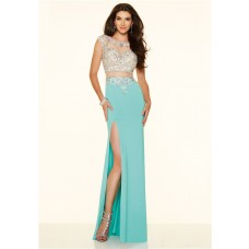 Sexy Two Piece High Slit Sheer Back Turquoise Chiffon Beaded Evening Prom Dress