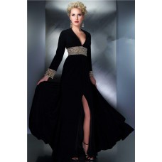 Sexy V Neck Backless Long Black Chiffon Beaded Sleeve Prom Evening Dress Open Back