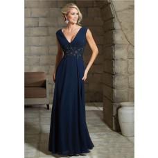 Sexy V Neck Long Navy Blue Chiffon Applique Beaded Evening Dress