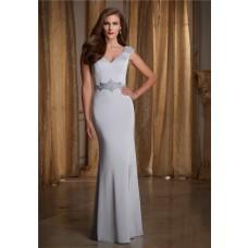 Sexy V Neck Open Back Cap Sleeve Silver Silk Satin Beaded Evening Dress