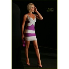 Sexy V Neck Short Mini Purple Silver Striped Bandage Bodycon Evening Dress With Straps