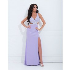 Sexy V Neck Side Cut Out Slit Backless Long Lilac Purple Chiffon Beaded Prom Dress
