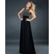 Sexy empire sleeveless backless long black beading chiffon evening dress