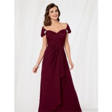 Sexy off shoulder floor length burgundy chiffon mother of the bride dress