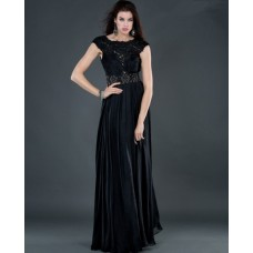 Sexy sheath backless long black beading chiffon evening dress with lace