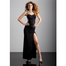 Sexy sheath sweetheart backless long black chiffon prom dress with strap