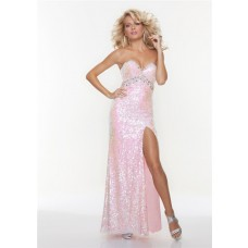 Sexy sheath sweetheart long pink sequined prom dress with split
