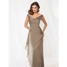 Sexy sheath v neck floor length brown chiffon mother of the bride dress