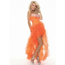 Sexy sweetheart beaded organza ruffles orange prom dress high low