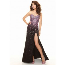 Sexy sweetheart long black beaded chiffon prom dress with slit