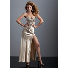 Sexy sweetheart long champagne silk prom dress with beading and slit