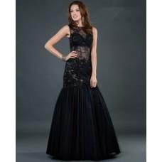 Sexy trumpet/ mermaid sleeveless sheer long black lace evening dress