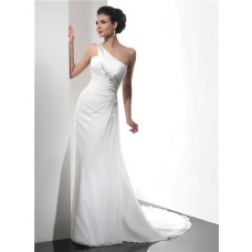 Sheath Asymmetric One Shoulder Summer Beach Chiffon Wedding Dress With Straps Beading Pleat
