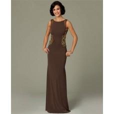 Sheath Bateau Neck Backless Long Brown Chiffon Beaded Evening Dress