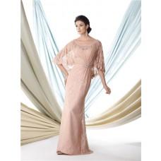 Sheath Bateau Neckline Cap Sleeve Nude Lace Mother Of The Bride Formal Occasion Dress