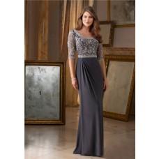 Sheath Bateau Neckline Long Grey Chiffon Beaded Occasion Evening Dress With Sleeves