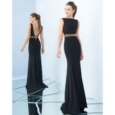Sheath Bateau Neckline Low Back Black Jersey Gold Beaded Evening Prom Dress