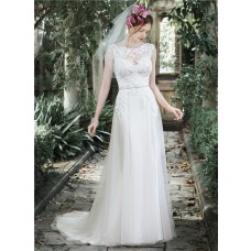 Sheath Bateau Neckline See Through Tulle Lace Wedding Dress With Belt