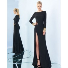 Sheath Boat Neck High Slit Long Sleeve Black Jersey Beaded Evening Prom Dress