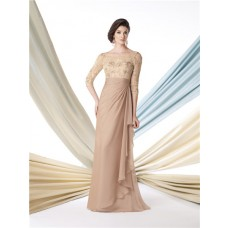 Sheath Boat Neckline Champagne Chiffon Lace Sleeve Mother Of The Bride Evening Dress