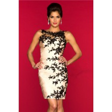 Sheath Column Open Back Short Champagne Chiffon Black Lace Party Prom Dress