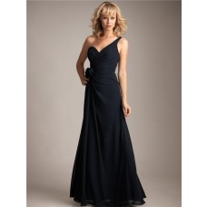 Sheath/Column asymmetrical one shoulder long navy blue chiffon bridesmaid dress