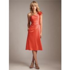 Sheath/Column asymmetrical one shoulder short coral silk bridesmaid dress