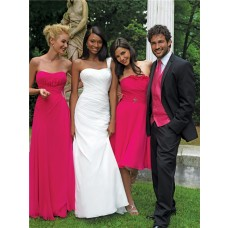 Sheath/Column sweetheart floor length long fuchsia chiffon bridesmaid dress