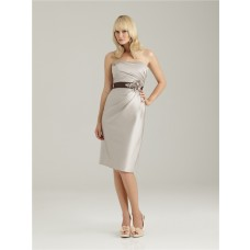 Sheath/Column sweetheart short silver silk crystal bridesmaid dress with sash