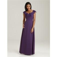 Sheath/Column V neck long purple chiffon bridesmaid dress with cap sleeves and ruffles