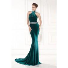Sheath Halter Long Teal Velvet Beaded Formal Occasion Evening Dress