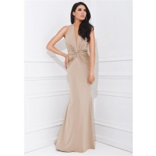 Sheath Halter Plunging Neckline Long Champagne Chiffon Ruched Special Occasion Evening Dress