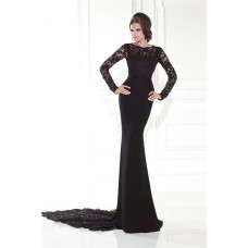 Sheath High Neck Black Satin Lace Long Sleeve Formal Occasion Evening Dress With Train