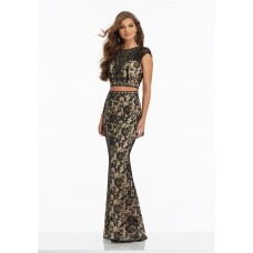 Sheath High Neck Cap Sleeve Two Piece Black Lace Evening Prom Dress