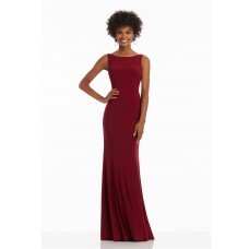 Sheath High Neck Cowl Back Long Burgundy Jersey Formal Occasion Prom Dress