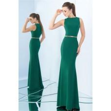 Sheath High Neck Full Back Sleeveless Green Jersey Evening Dress With Belt