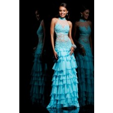 Sheath High Neck Halter Backless Long Aqua Lace Chiffon Layered Evening Prom Dress