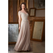 Sheath Illusion Neckline Long Champagne Chiffon Lace Beaded Evening Dress With Sleeves
