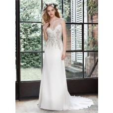 Sheath Keyhole Open Back Chiffon Beaded Crystal Wedding Dress Sheer Straps