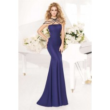 Sheath Navy Blue Satin Special Occasion Evening Dress With Straps