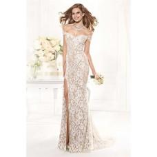 Sheath Off The Shoulder Sheer Back High Slit Ivory Lace Evening Prom Dress