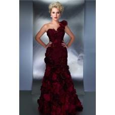 Sheath One Shoulder Long Burgundy Chiffon Flower Special Occasion Evening Dress